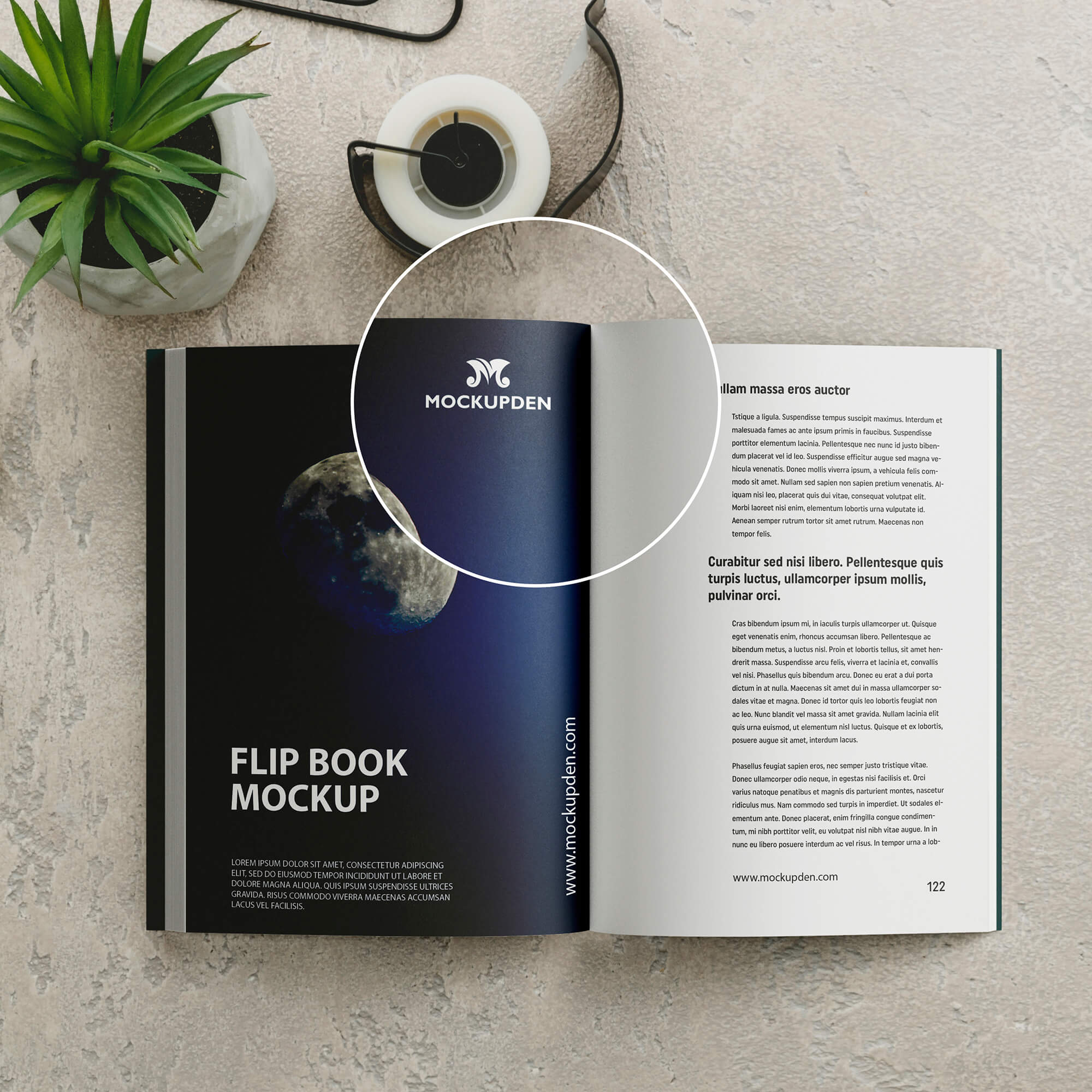 Close Up Of a Free Flip Book Mockup PSD Template