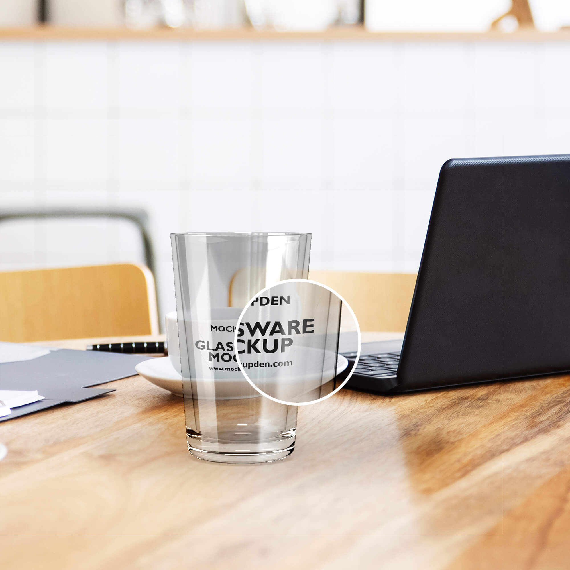 Close Up Of a Free Glassware Mockup PSD Template