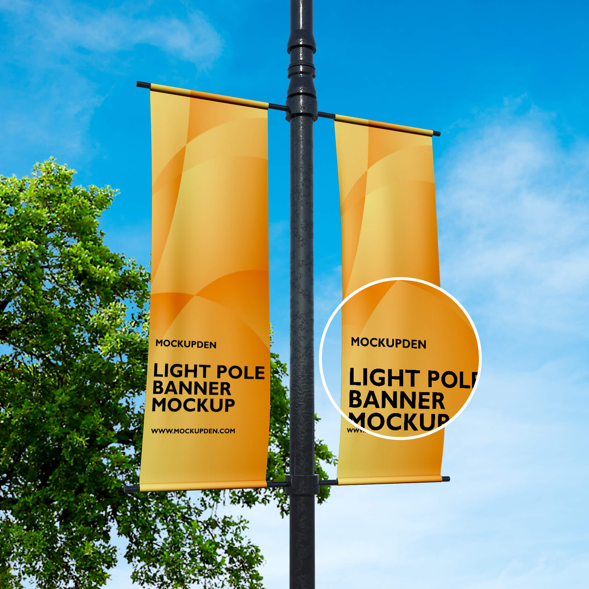 Close Up Of a Free Light Pole Banner Mockup PSD Template