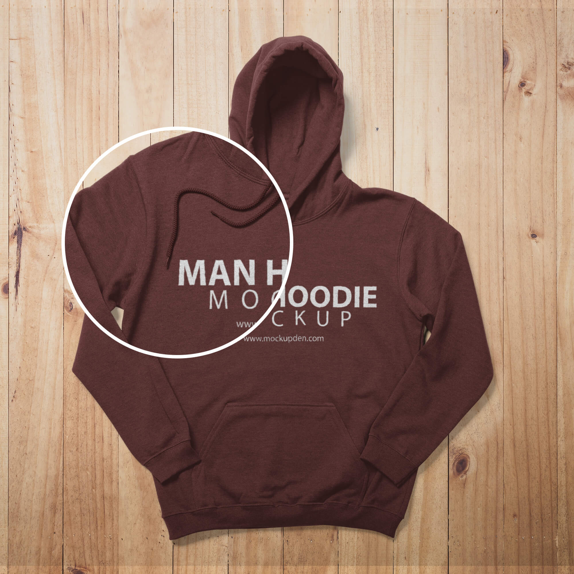 Close Up Of a Free Man Hoodie Mockup PSD Template