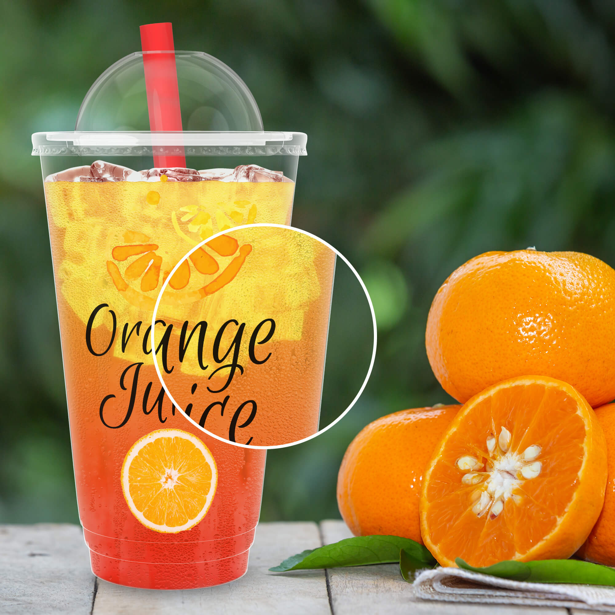 Close Up Of a Free Plastic Juice Cup Mockup PSD Template
