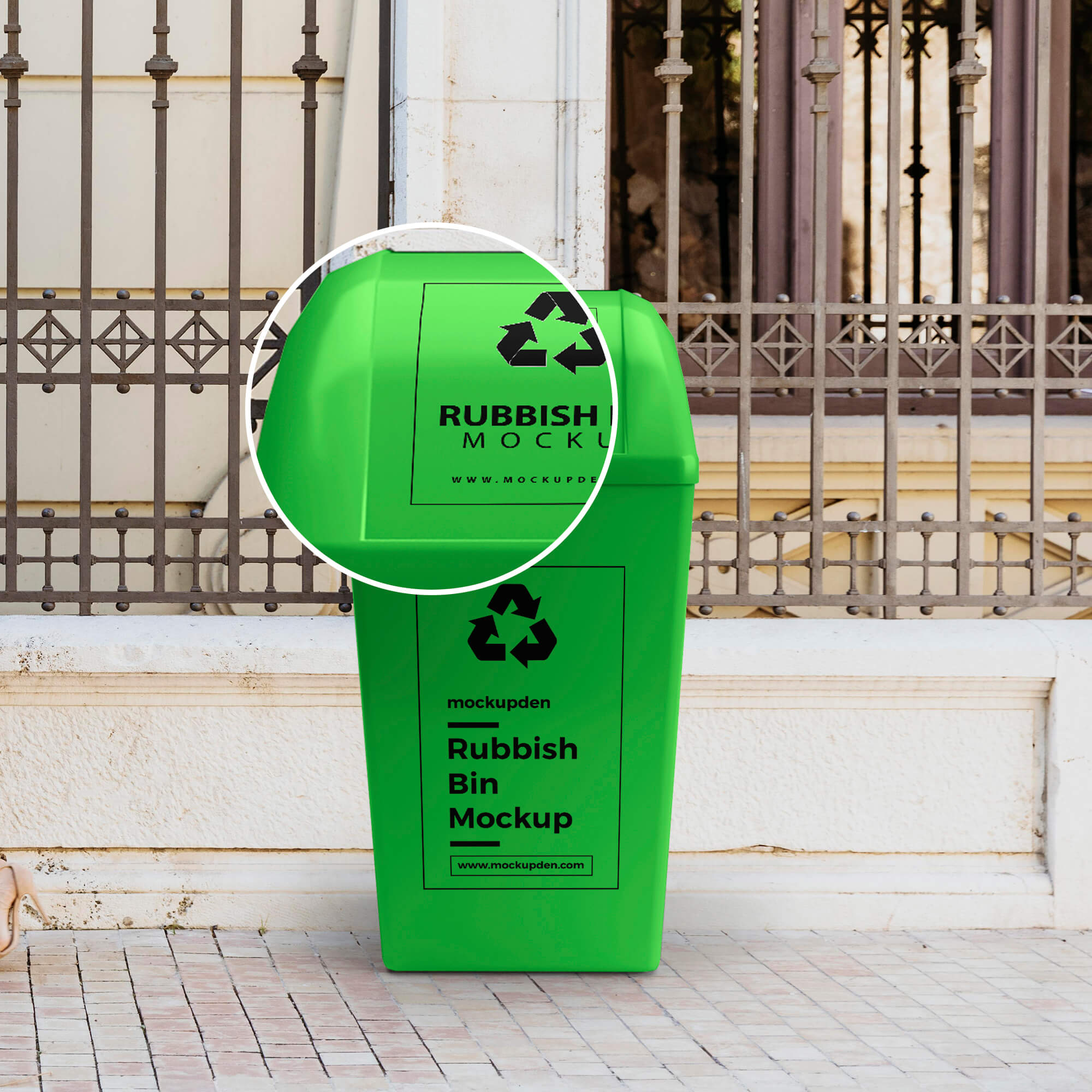 Close Up Of a Free Rubbish Bin Mockup PSD Template