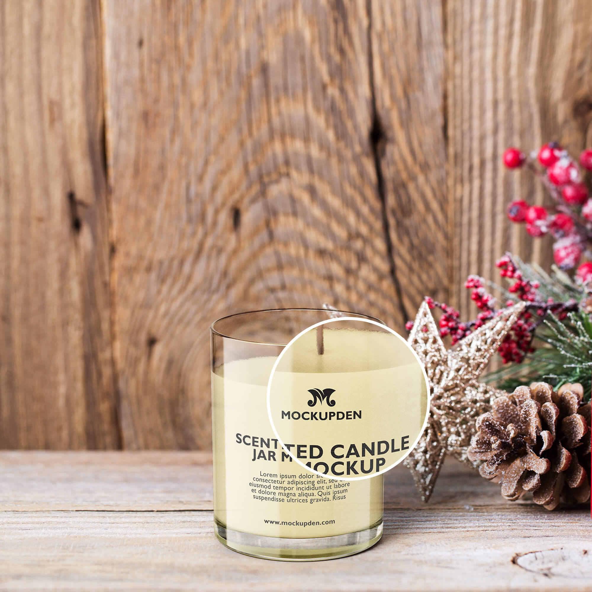 Close Up Of a Free Scented Candle Jar Mockup PSD Template