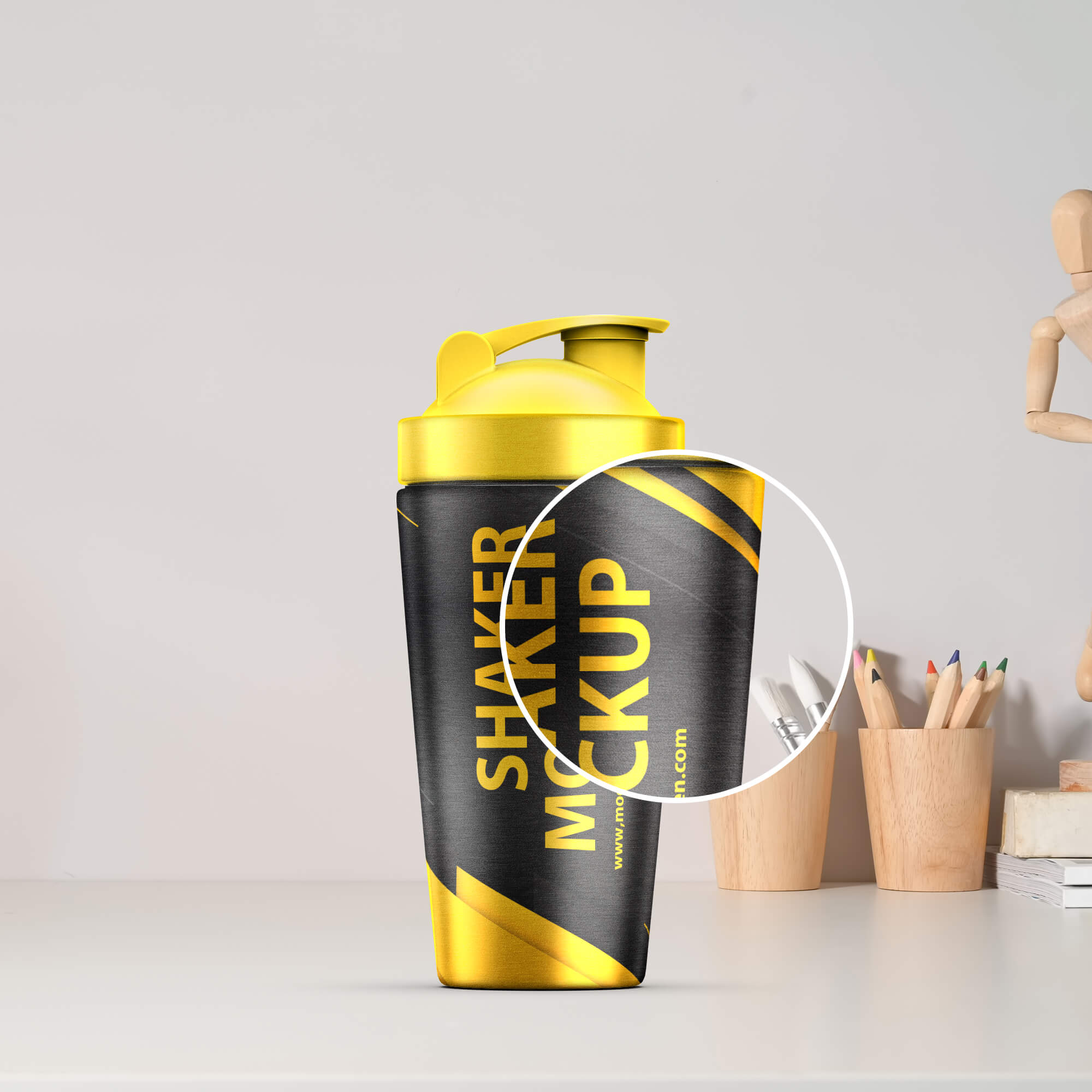 Close Up Of a Free Shaker Mockup PSD Template
