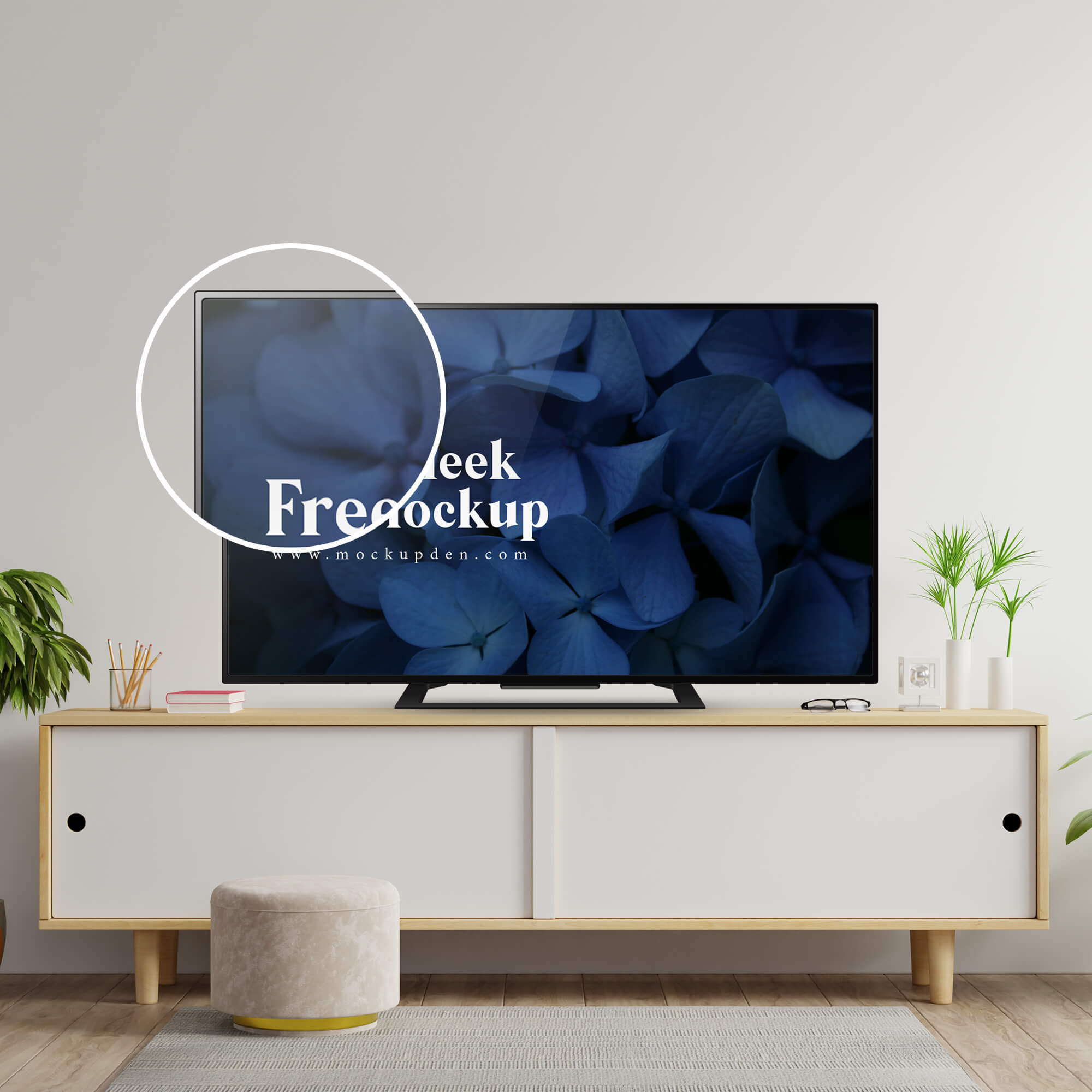 Close Up Of a Free Sleek TV Mockup PSD Template