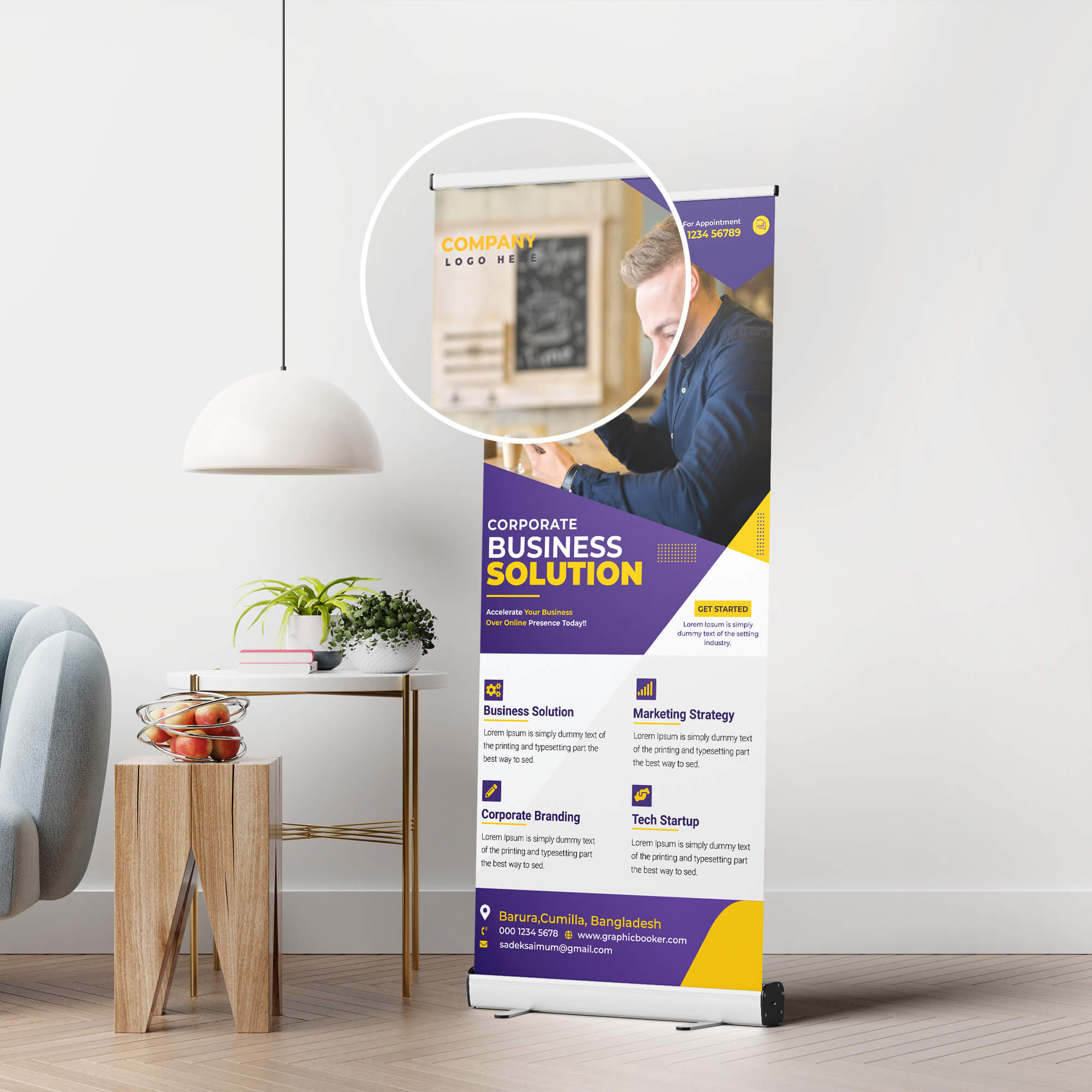 Close Up Of a Free Stand Up Banner Mockup PSD Template