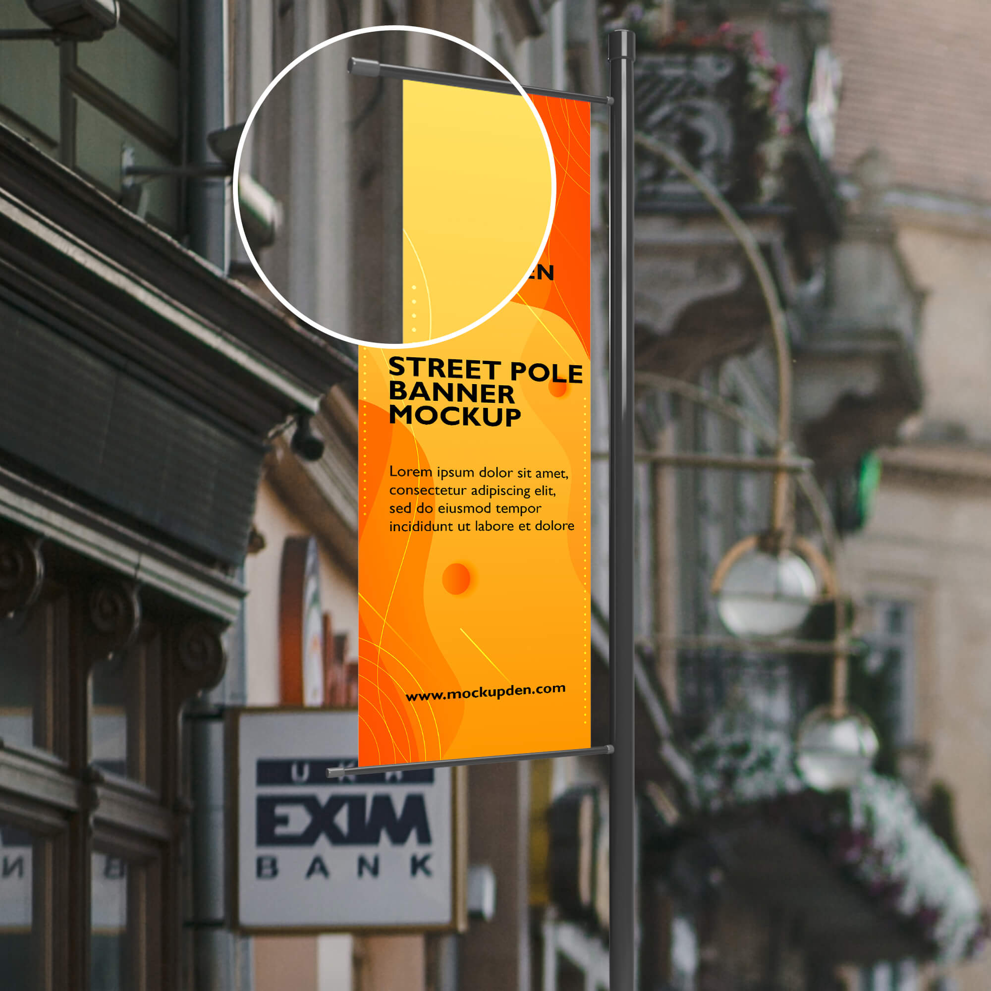 Close Up Of a Free Street Pole Banner Mockup PSD Template