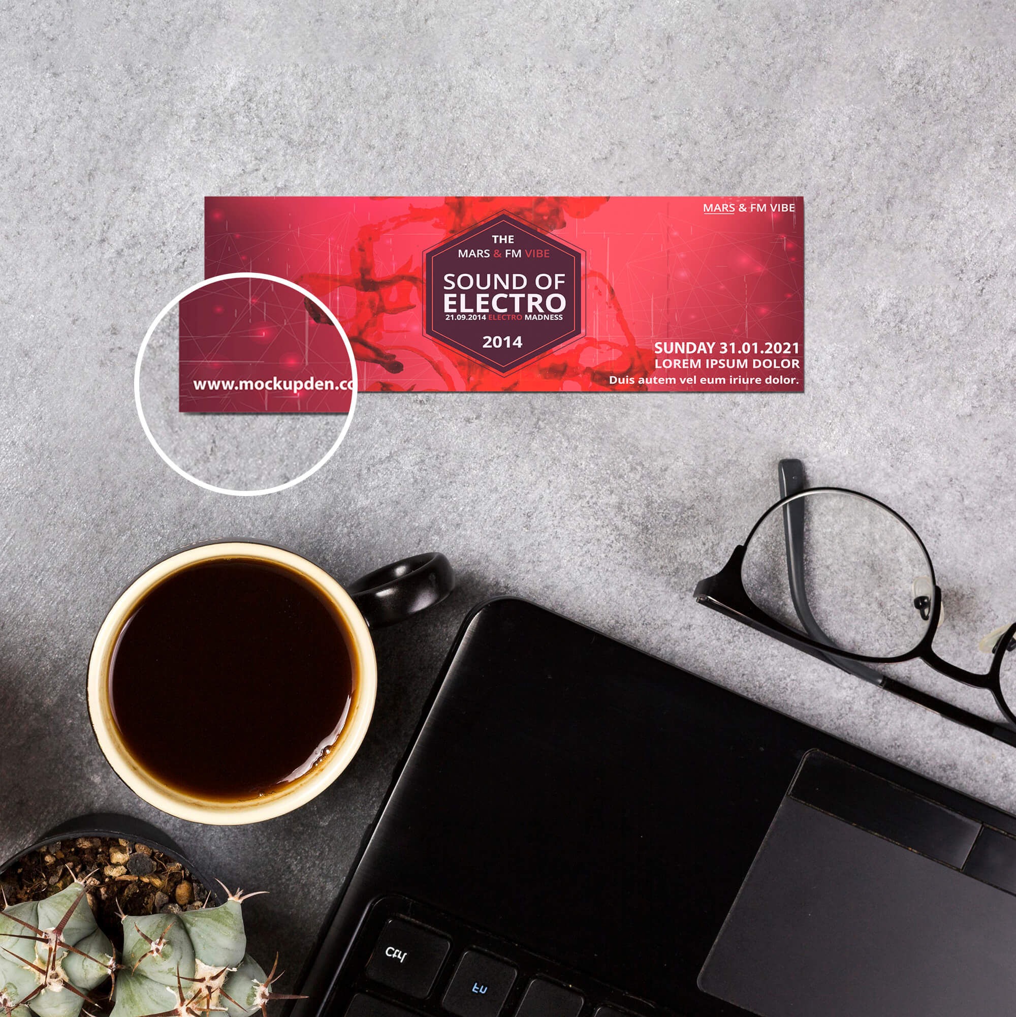 Close Up Of a Free Ticket Mockup PSD Template