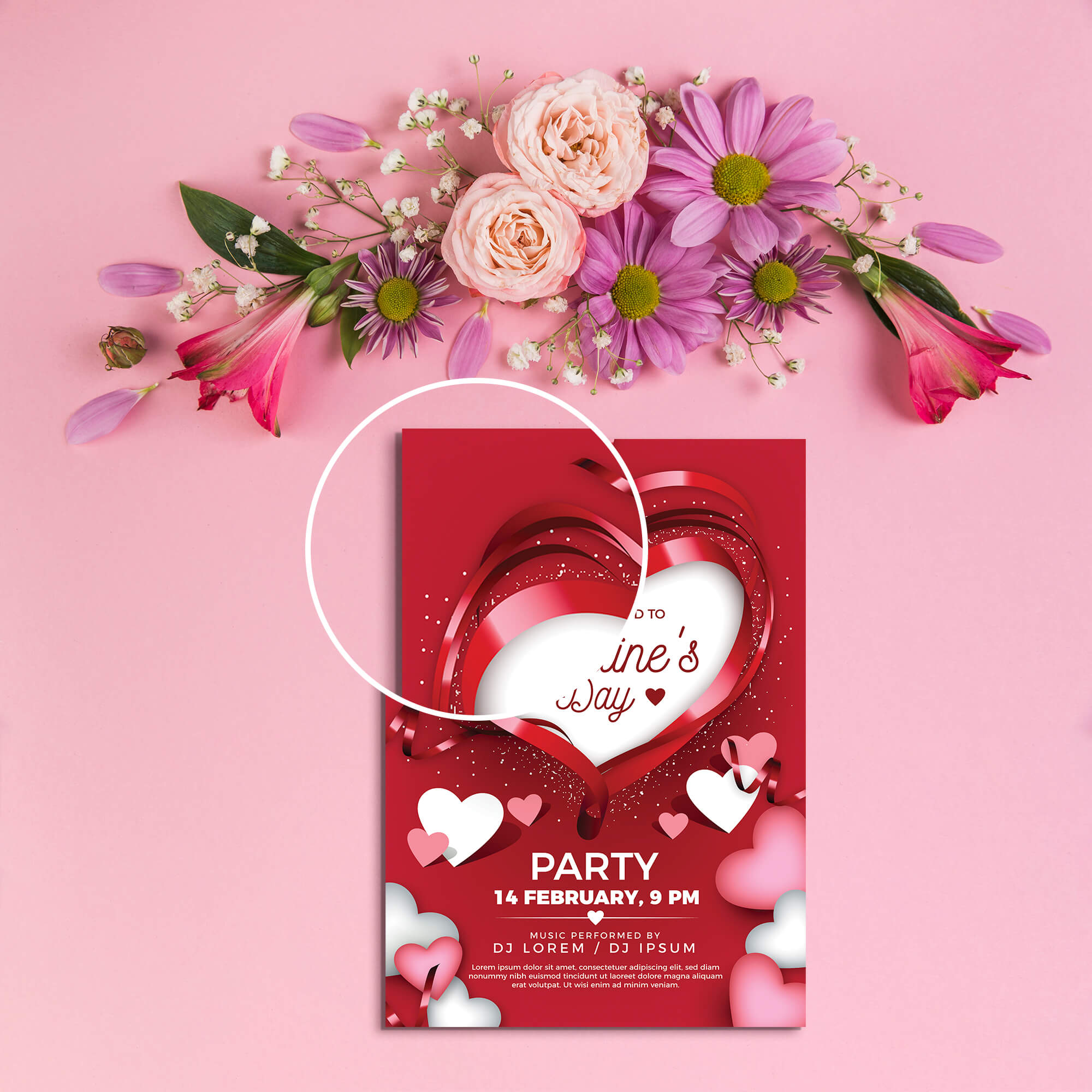 Close Up Of a Free Valentines Day Card Mockup PSD Template
