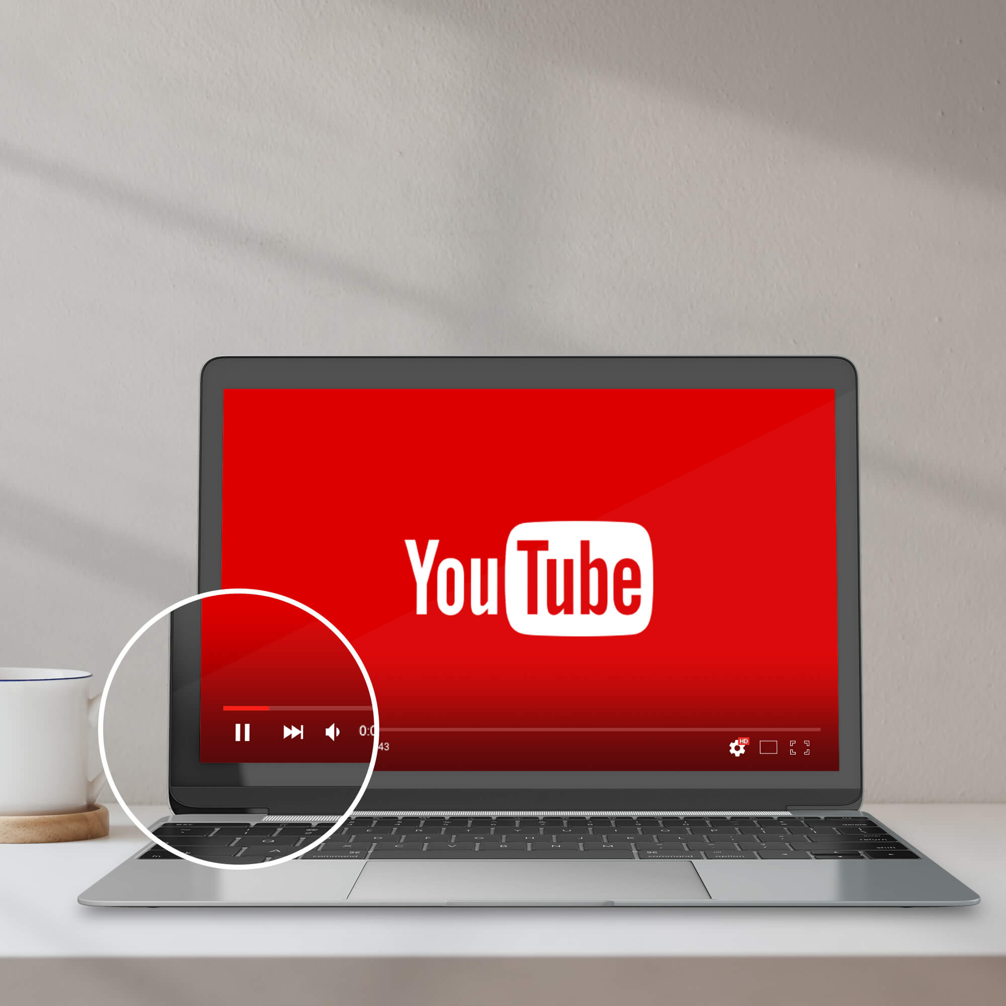 Close Up Of a Free Youtube Player Mockup PSD Template