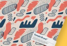 Close up on fabric pattern mockup with tag Premium Psd