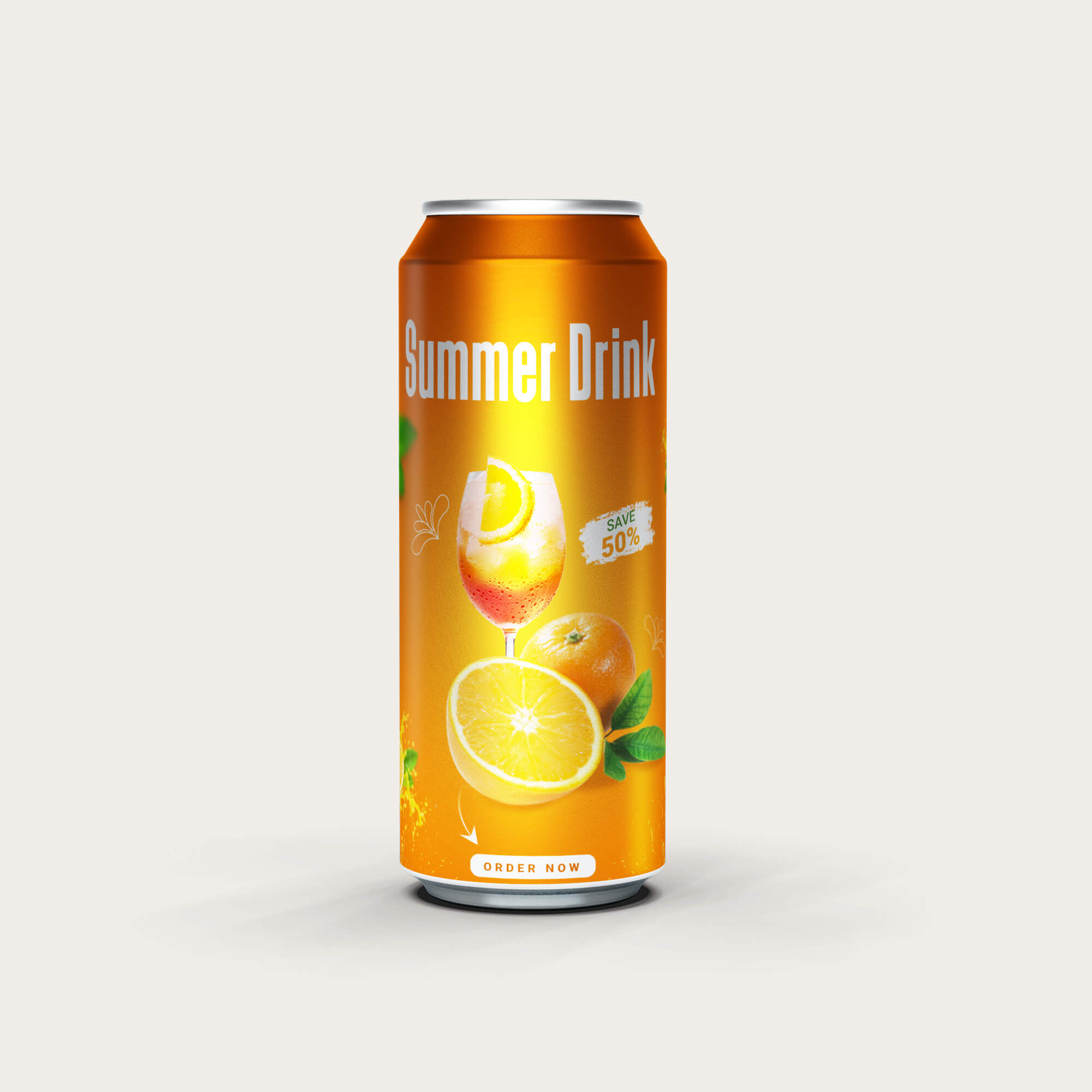 Design Free Energy Drink Can Mockup PSD Template