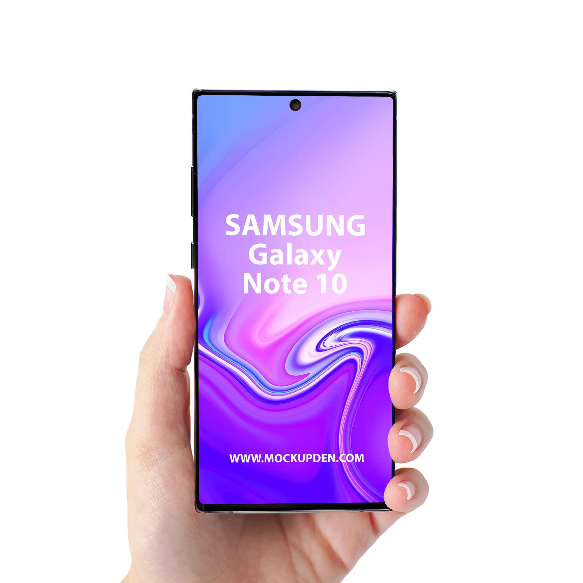 Design Free Galaxy Note 10 in Hand Mockup PSD Template