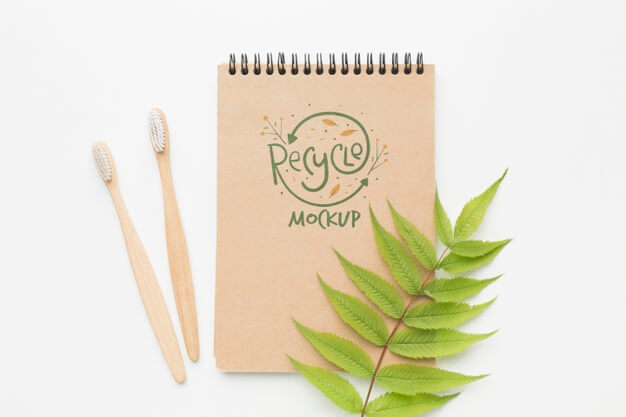 Eco notebook and toothbrushes Free Psd