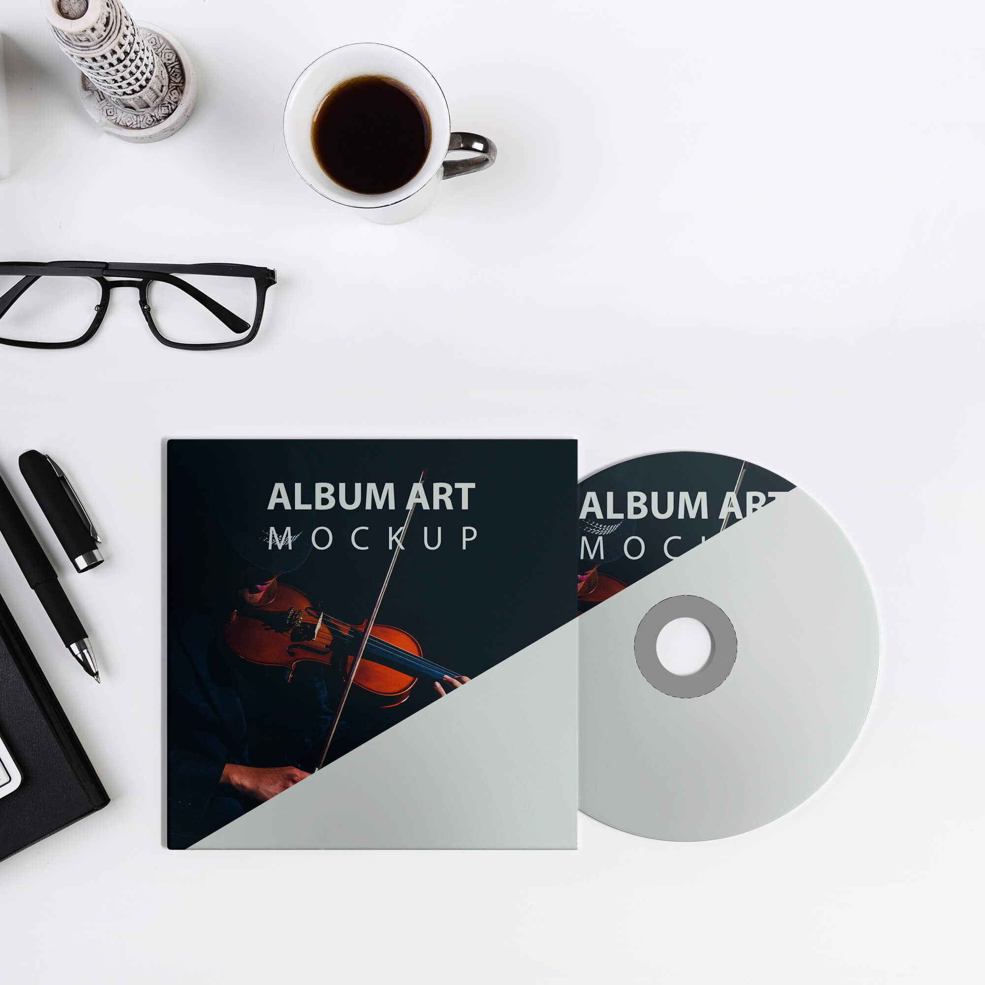 Editable Free Album Art Mockup PSD Template