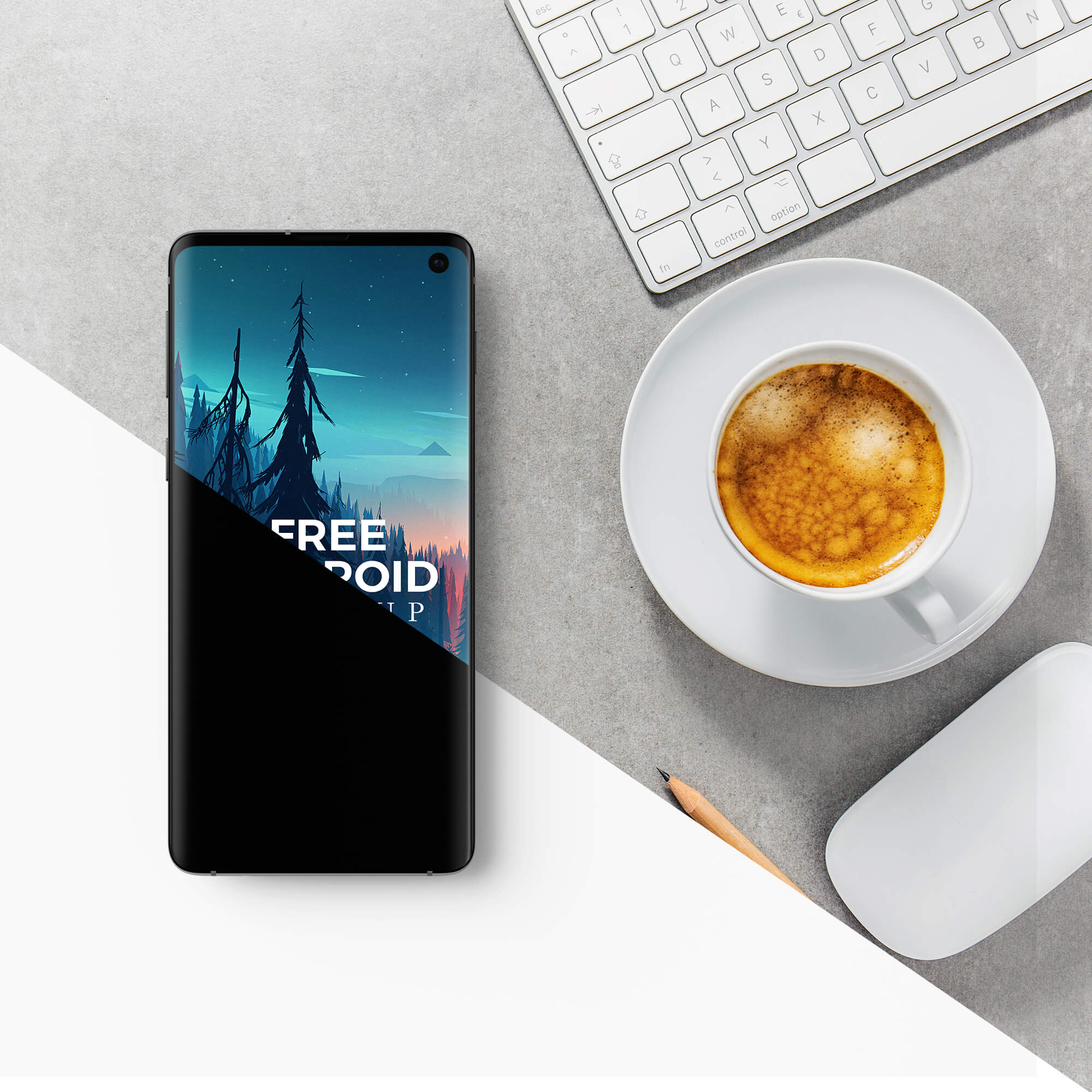 Editable Free Android Mockup PSD Template