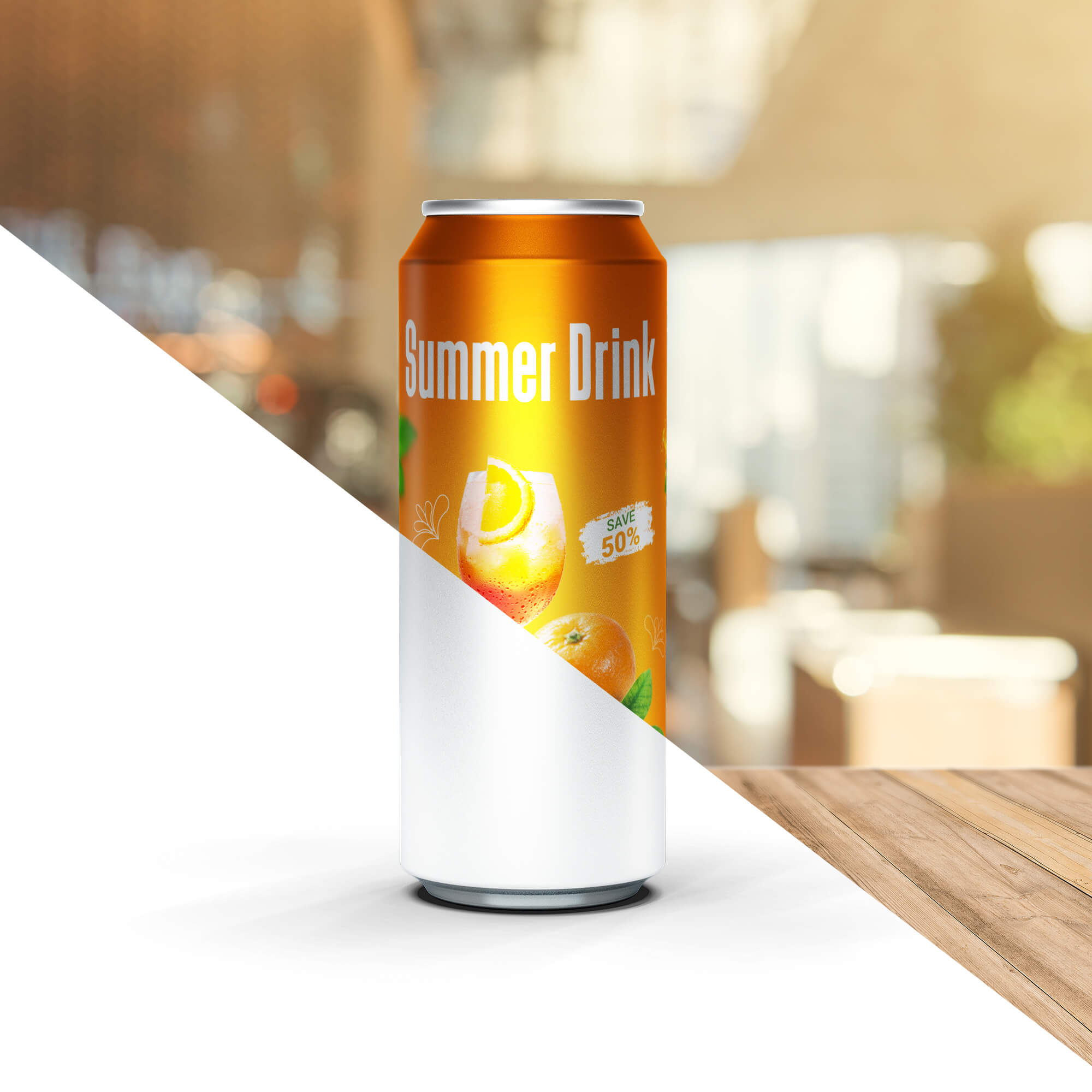 Editable Free Energy Drink Can Mockup PSD Template