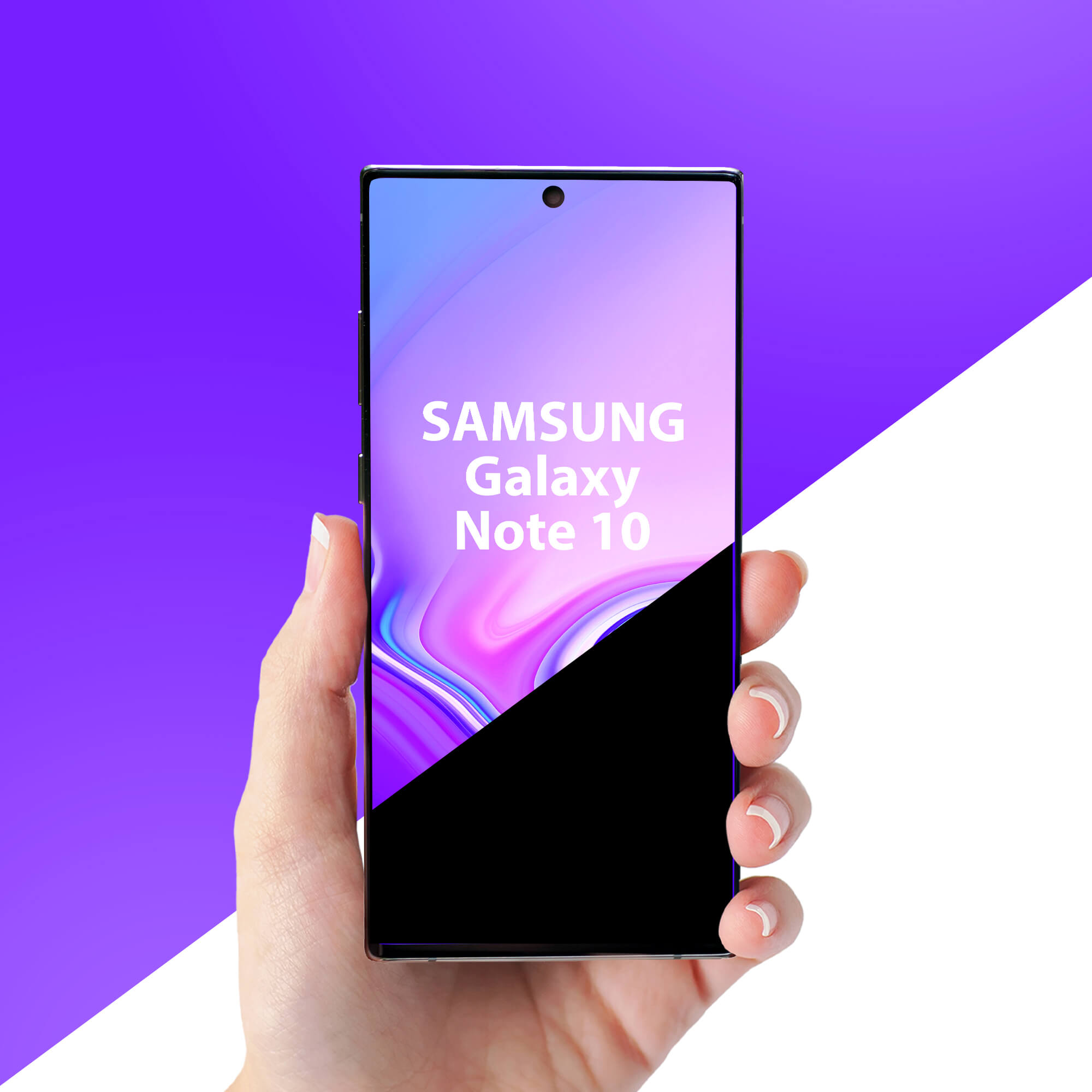 Editable Free Galaxy Note 10 in Hand Mockup PSD Template