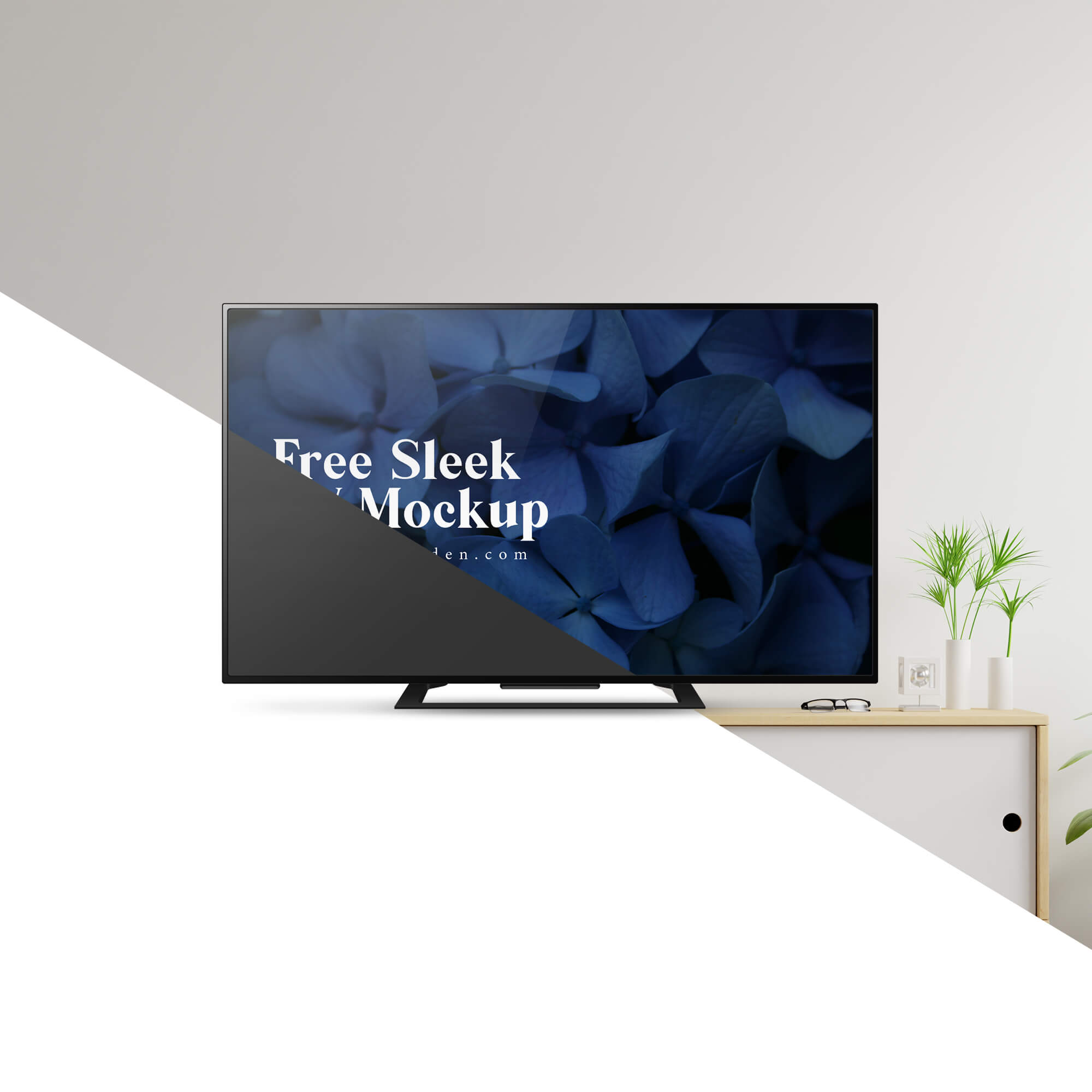 Editable Free Sleek TV Mockup PSD Template