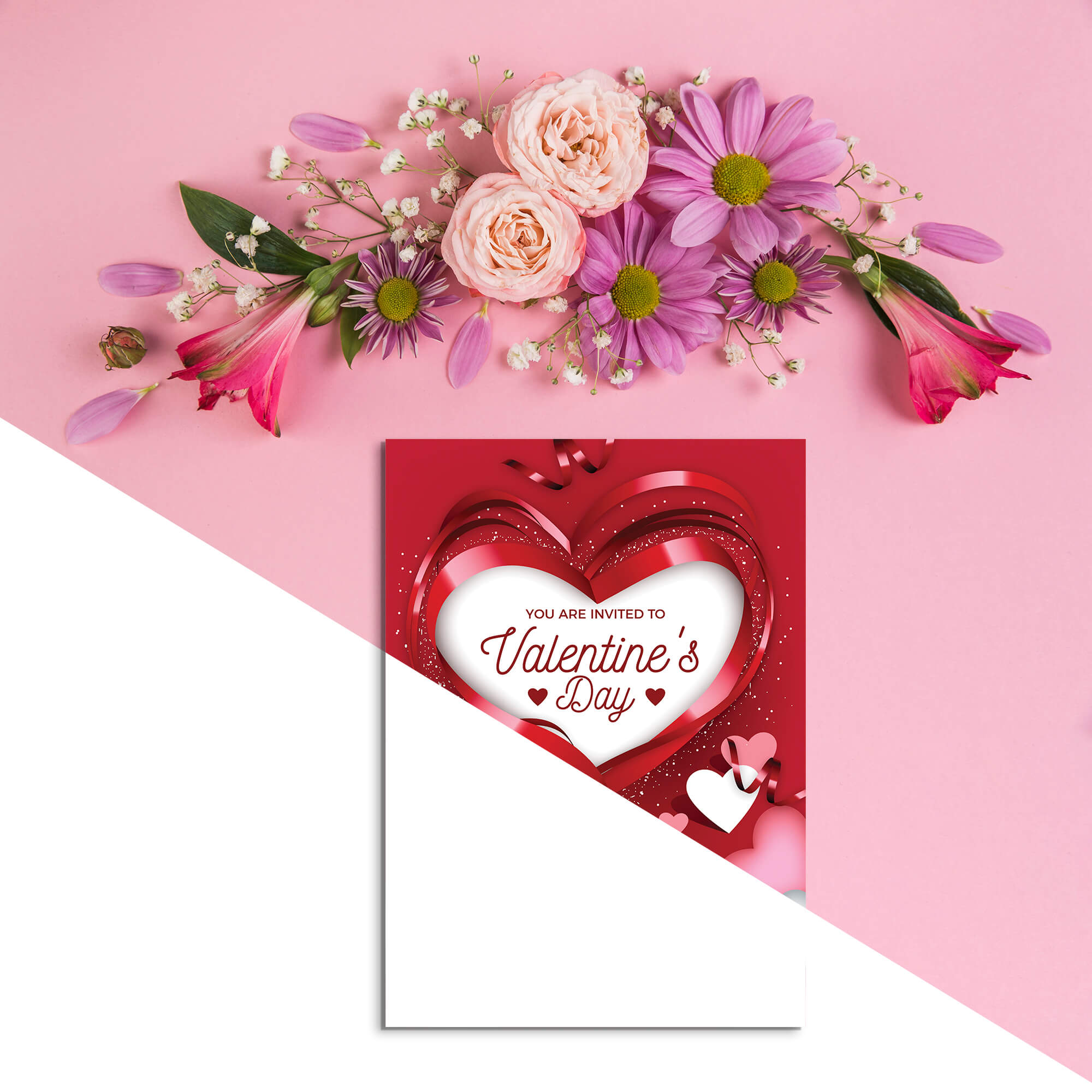 Editable Free Valentines Day Card Mockup PSD Template