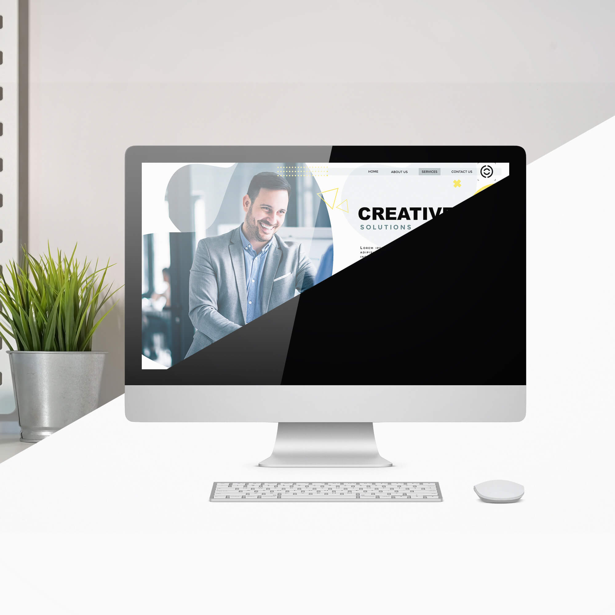Editable Free Website Display Mockup PSD Template