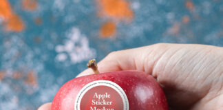 Free Apple Sticker Mockup PSD Template