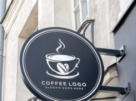 Free Cafe Round Signboard Mockup PSD Template