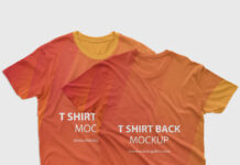 Free Front Back T shirt Mockup PSD Template
