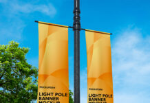 Free Light Pole Banner Mockup PSD Template