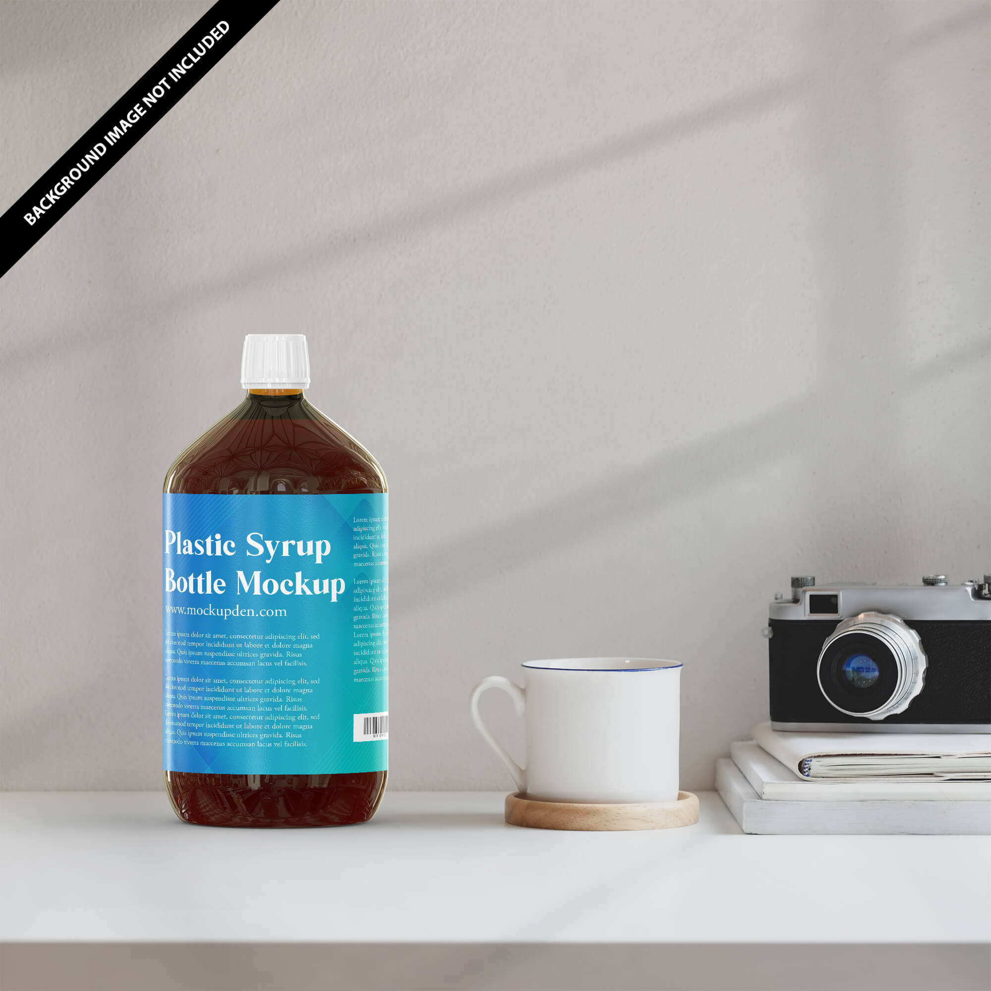 Free Plastic Syrup Bottle Mockup PSD Template