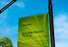 Free Pole Banner Mockup PSD Template