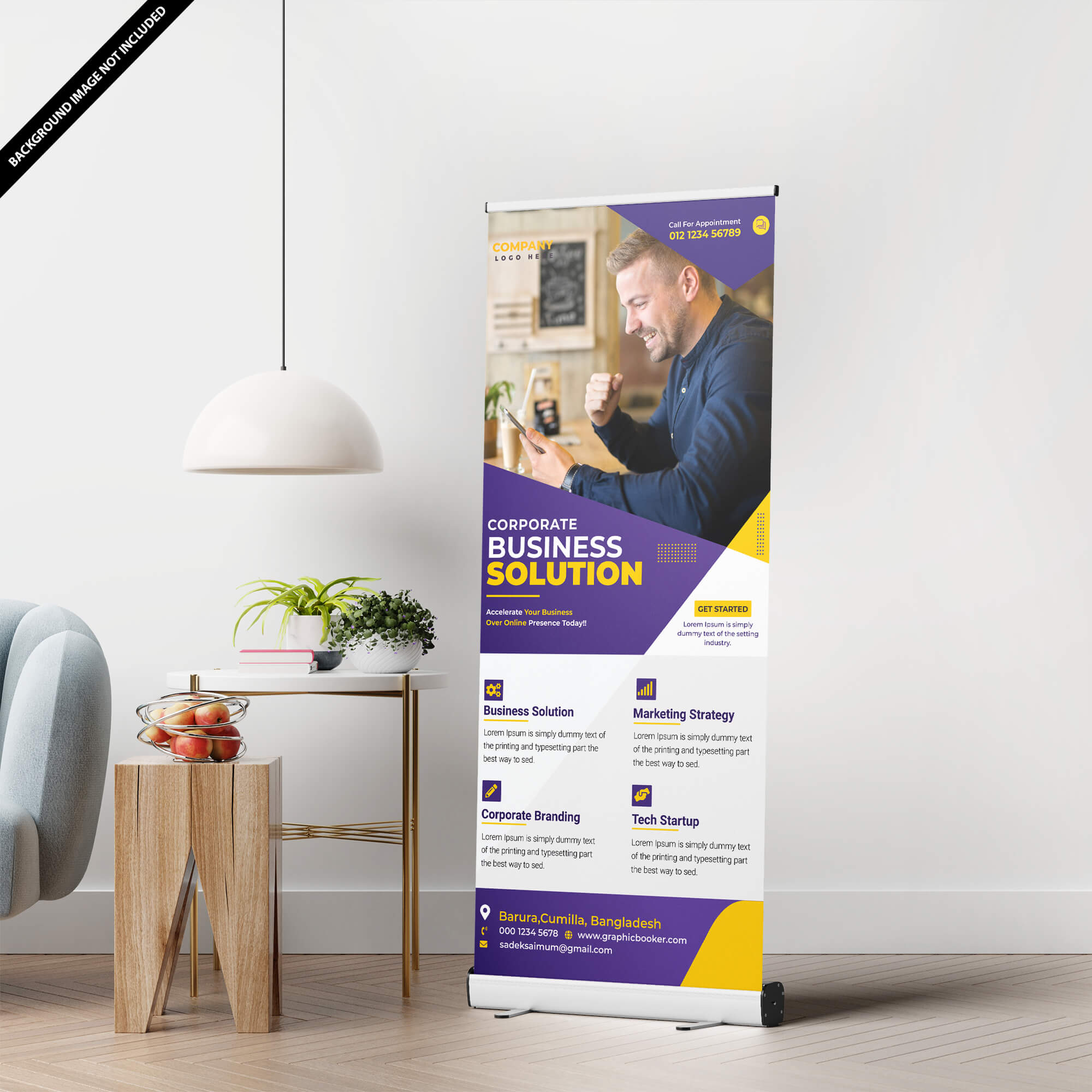 Free Stand Up Banner Mockup PSD Template