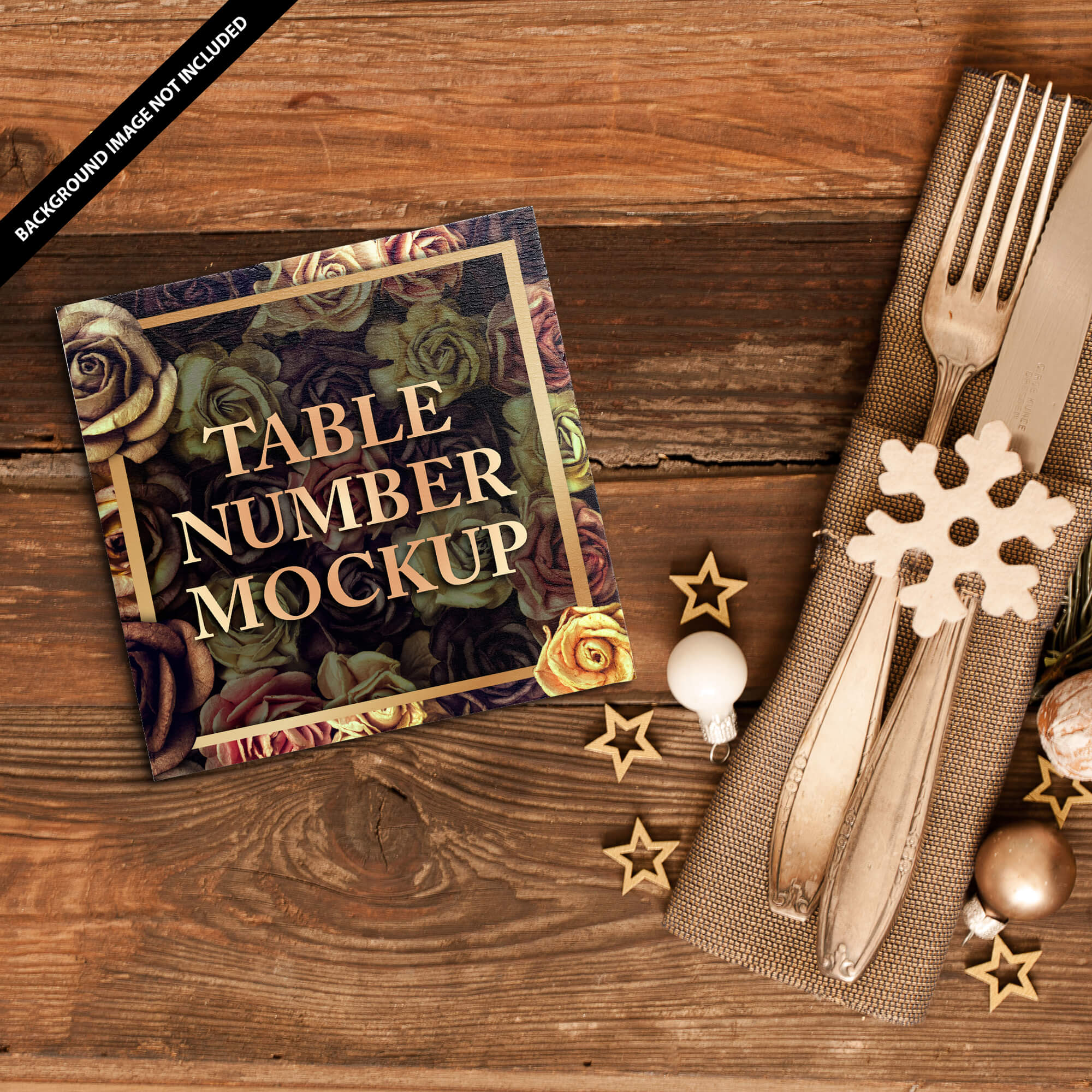 Free Table Number Mockup PSD Template