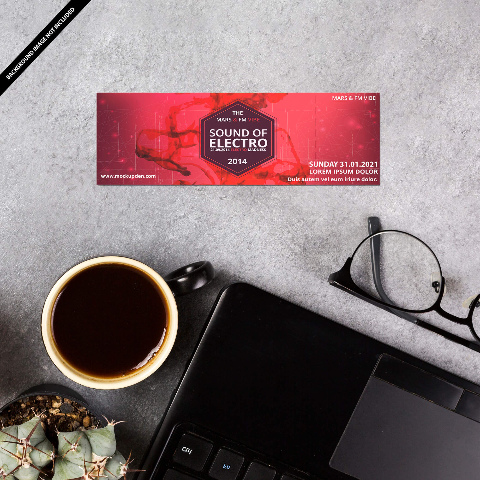 Free Season Ticket Mockup PSD Template