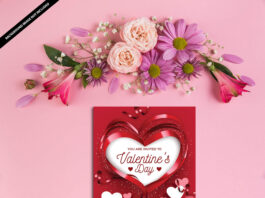 Free Valentines Day Card Mockup PSD Template