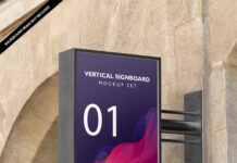 Free Vertical Signboard Mockup Set PSD Template