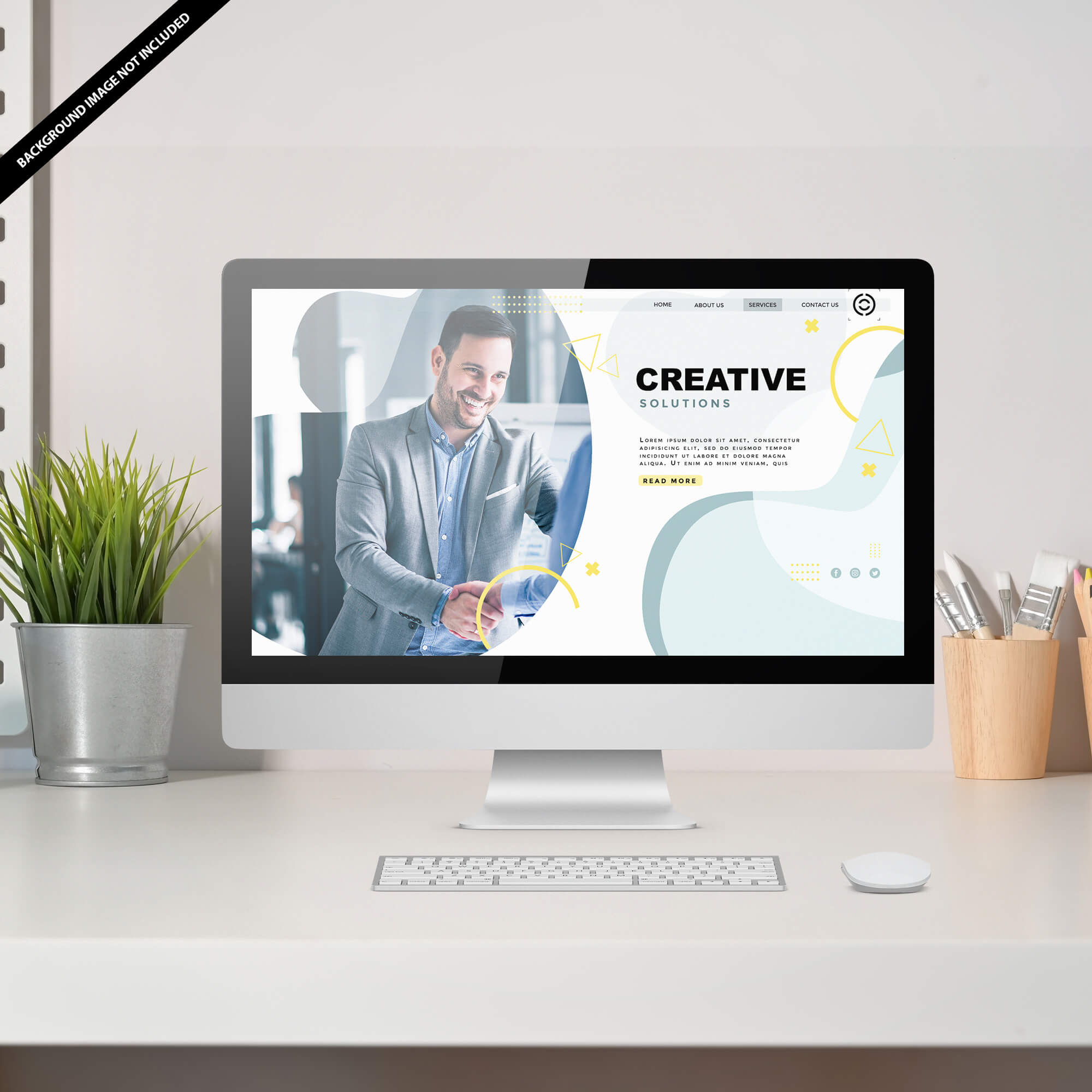 Free Website Display Mockup PSD Template
