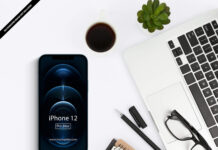Free iPhone 12 Pro Max in Table Mockup PSD Template