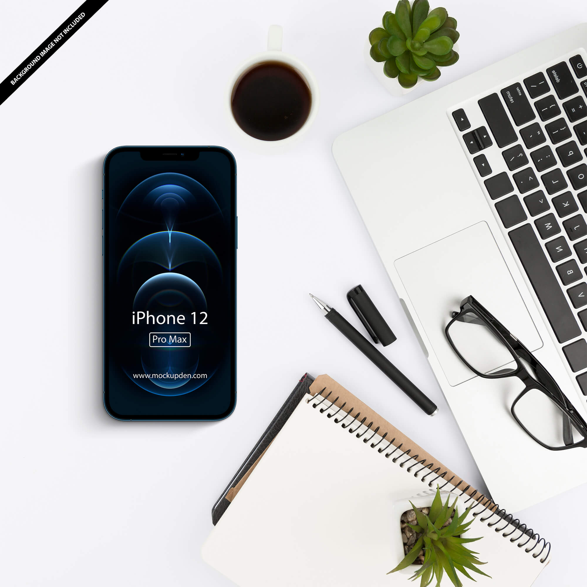 Free iPhone 12 Pro Max On Table Mockupp PSD Template