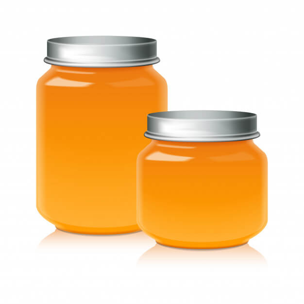 Set of glass jar for honey, jam, jelly or baby food puree template Premium Vector