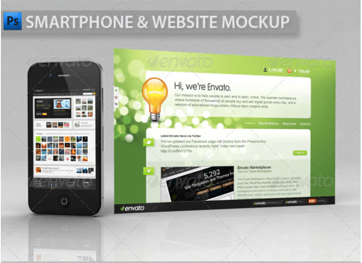 Smartphone and Website Showcase Mockup