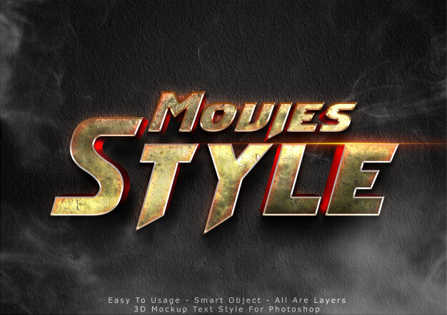 3d movies mockup text style effect Premium Psd