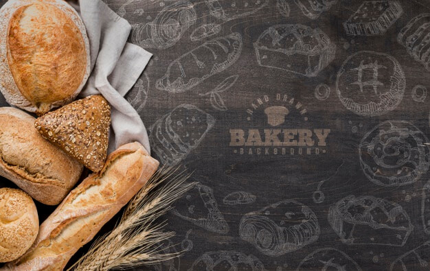 Basket with fresh bread Free Psd