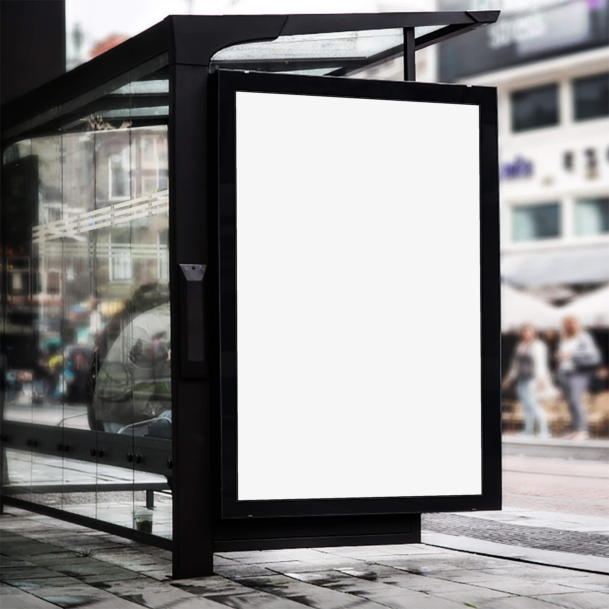 Blank Free Bus Shelter Mockup PSD Template