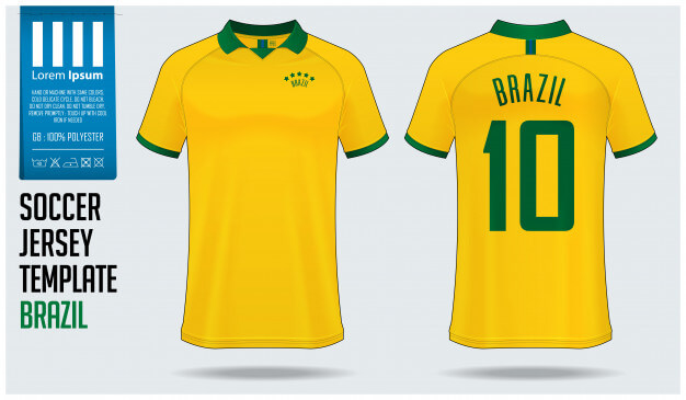 Brazil soccer jersey mockup or football kit template. Premium Vector