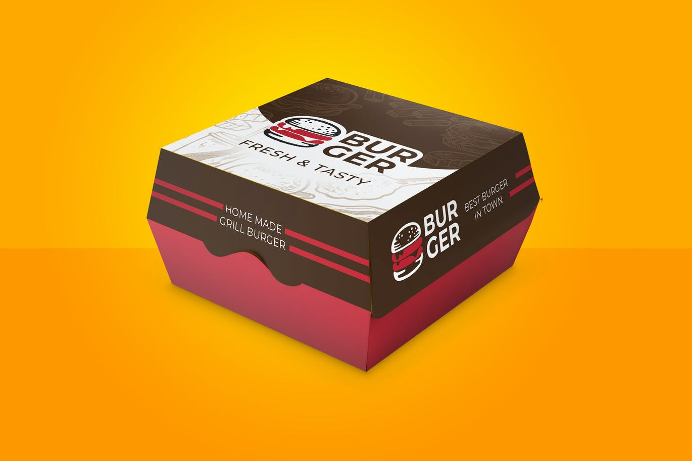 Burger Box Container Carton Design With Dieline