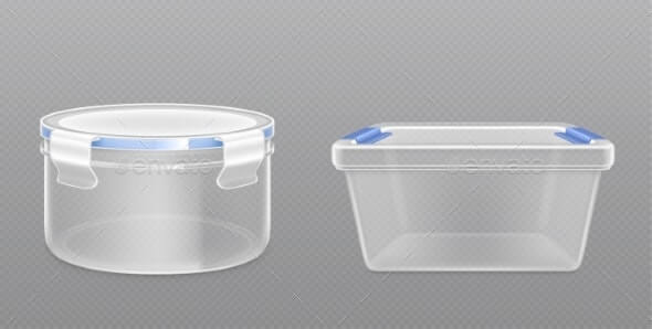 Clear Empty Plastic Bucket Front View