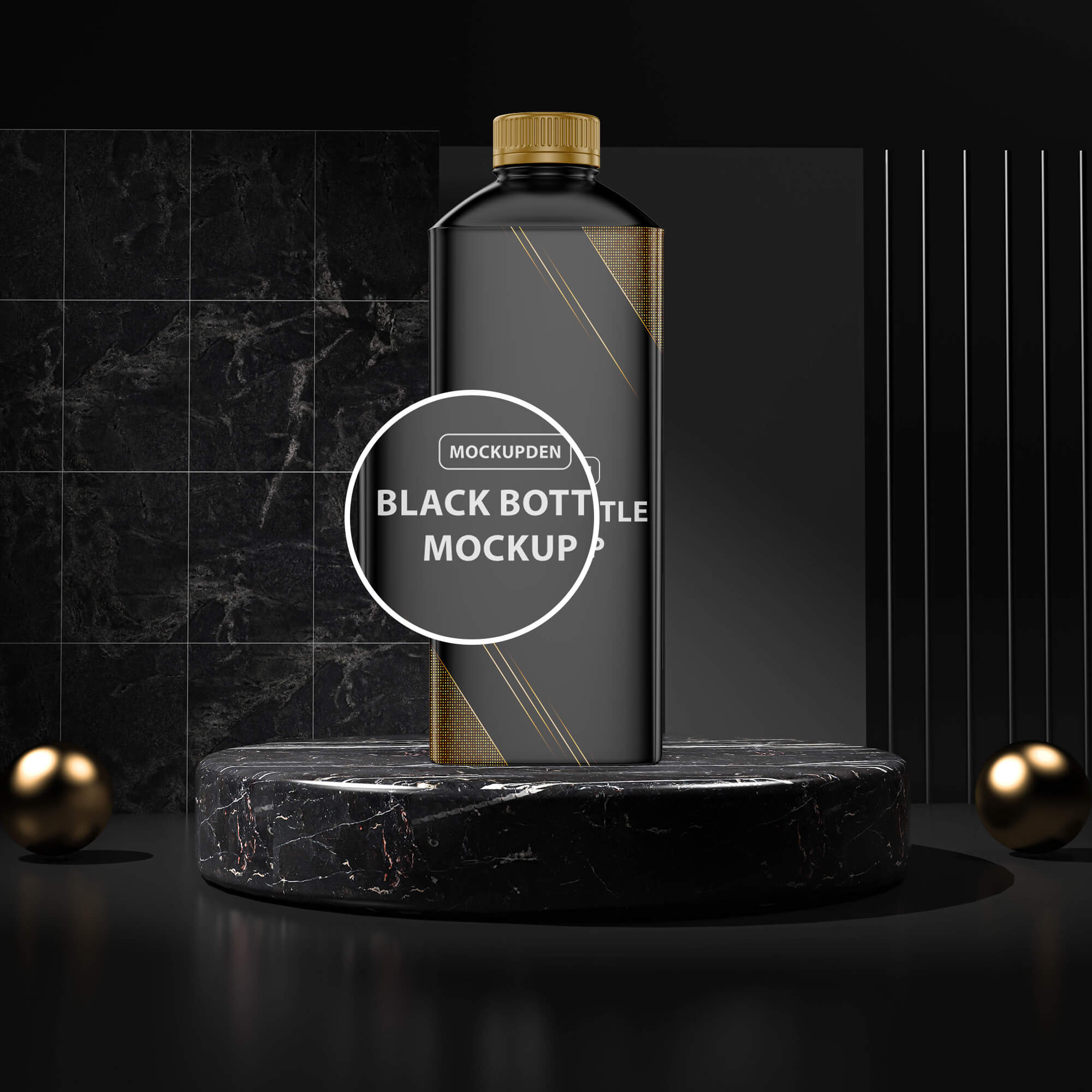 Close UP Of a Free Black Bottle Mockup PSD Template