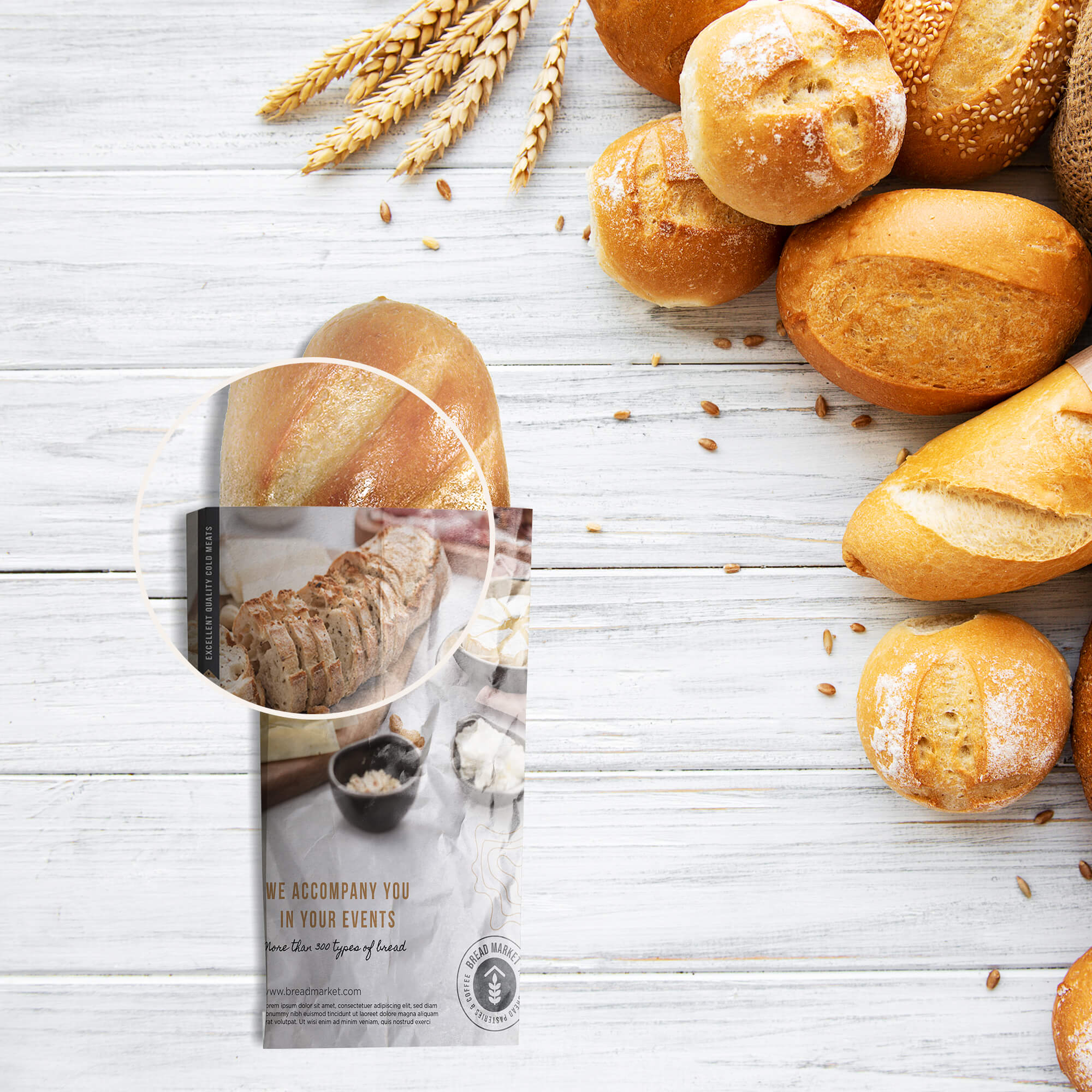 Close UP Of a Free Bread Mockup PSD Template