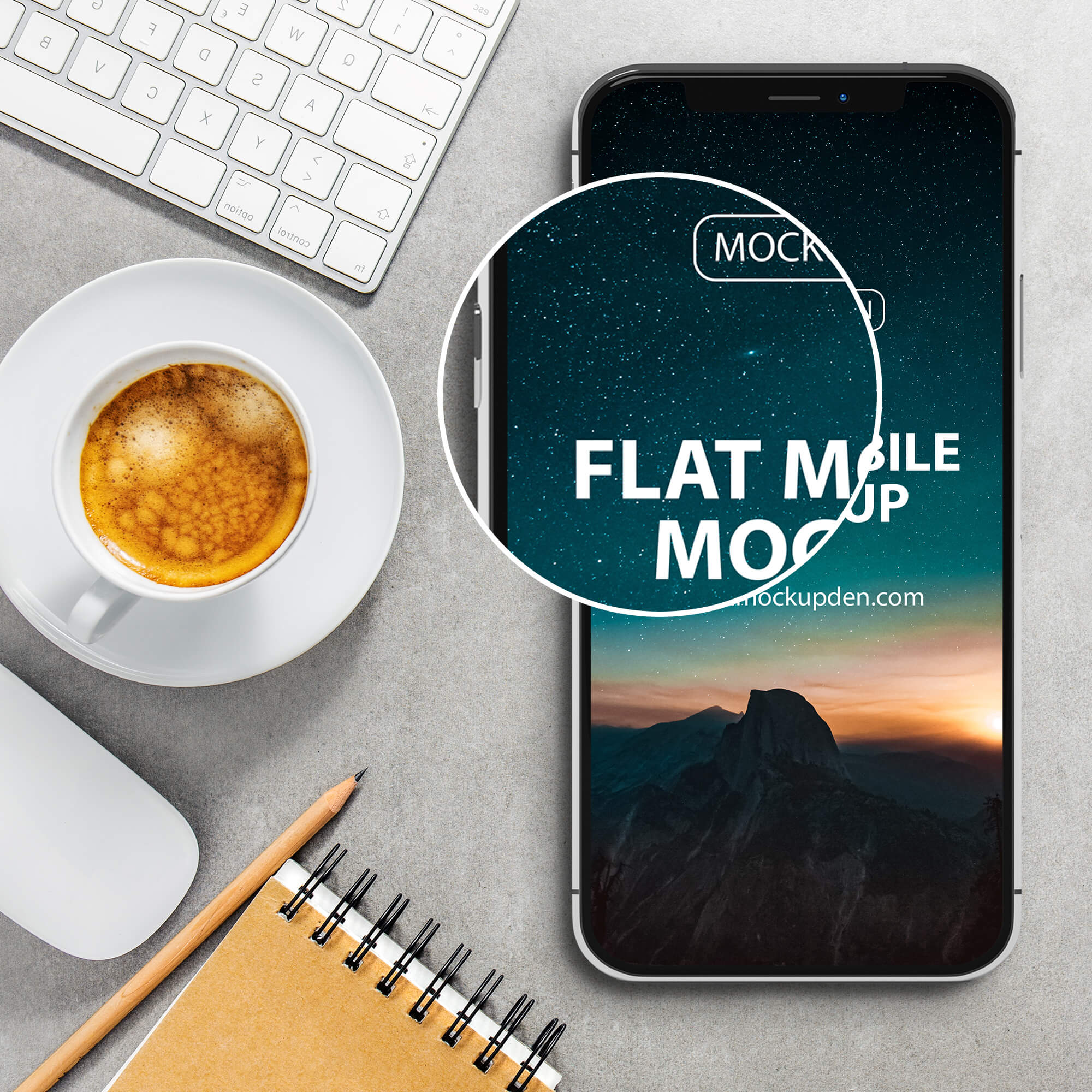 Close UP Of a Free Flat Mobile Mockup PSD Template